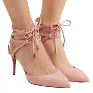 Aquazurra uma peony lace up heels sz 9.5